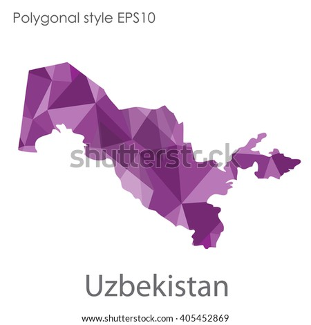 Uzbekistan map in geometric polygonal style.Abstract gems triangle,modern design background.