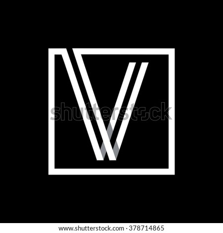 V capital letter enclosed in a square. . Overlapping with shadows monogram, logo, emblem. Trendy design.  - stock vector