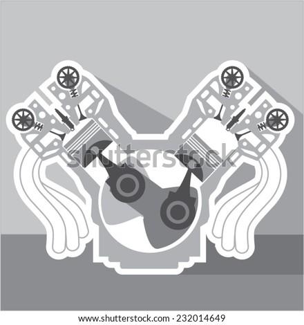 V8 engine cross section vector - stock vector