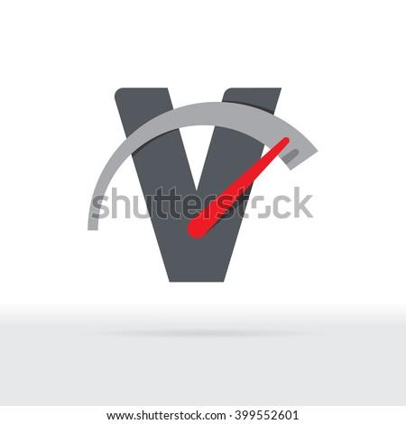 V Letter Car Speedometer, B Letter Meter Logo - stock vector