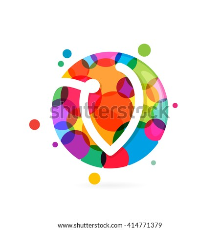 V letter logo in circle with rainbow dots. Font style, vector design template elements for your application or corporate identity. - stock vector