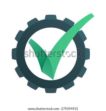 V letter or check mark, verification Eco gear logo, design template elements  - stock vector