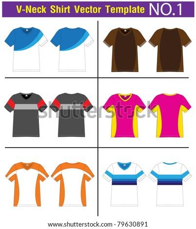V-Neck T-Shirt. lined Vector template for design work - stock vector
