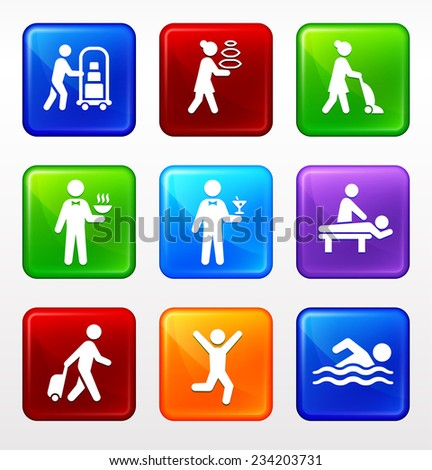Vacation and Hotel Accommodations on Multi Color Square Buttons