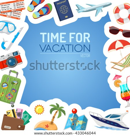 Vacation Tourism Frame Flat Icons Mobile Stock Vector HD (Royalty ...