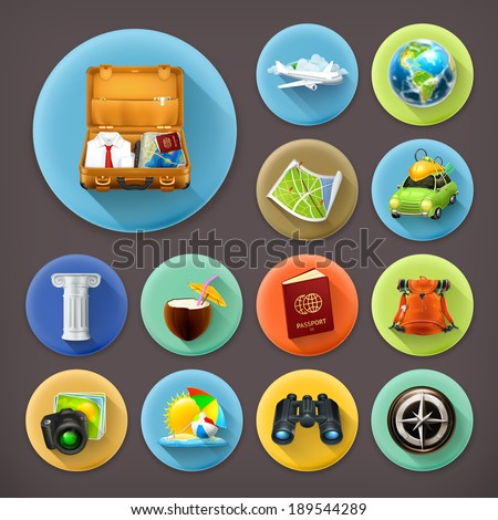 Vacation and Travel, long shadow icon set - stock vector