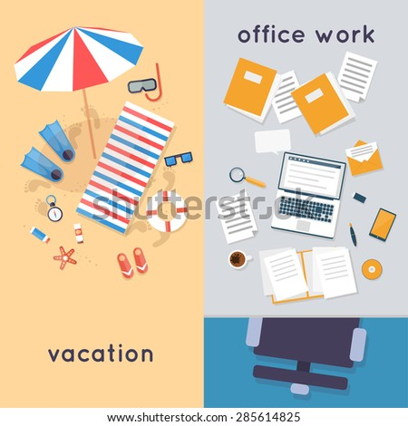 Vacation at the beach and in the office workplace a top view. Summer. Flat design vector illustration. - stock vector