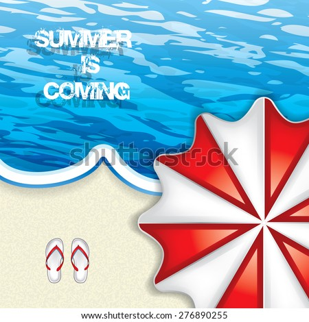 Vacation at the seaside with a red beach umbrella from above and flip-flop on the sand lapped by a blue ocean - stock vector