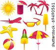 Vacation design elements in pink, orange and green - stock vector