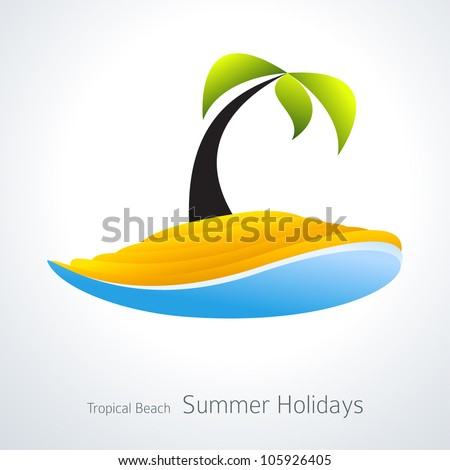 Vacation Icon. Palm Tree Tropical Island Creative Icon - stock vector