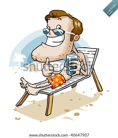 Vacation on Beach. Cartoon Series - stock vector