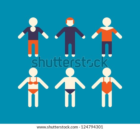 vacation people in various clothes - stock vector