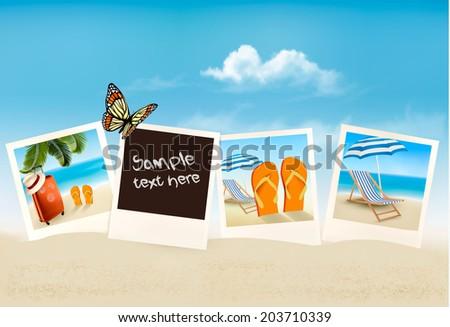 Vacation photos on a beach. Vector.  - stock vector