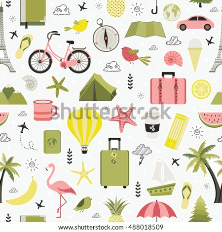 Vacation, recreation, holiday, travel. Seamless pattern. All elements are  hidden under mask. Pattern are not cropped and can be edited. Cute vector illustration.