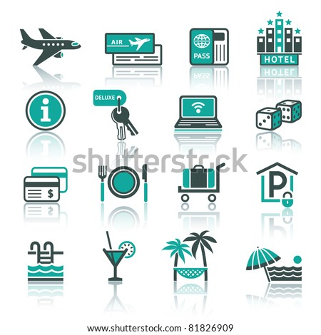 Vacation, Recreation & Travel. icons set. Tourism, Sport with reflection. - stock vector