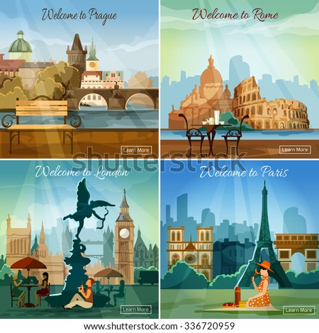 Vacation sightseeing worlds famous capitals tours travel 4 flat pictograms collection square banner abstract isolated vector illustration - stock vector