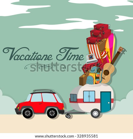 Vacation time with car full of luggages illustration