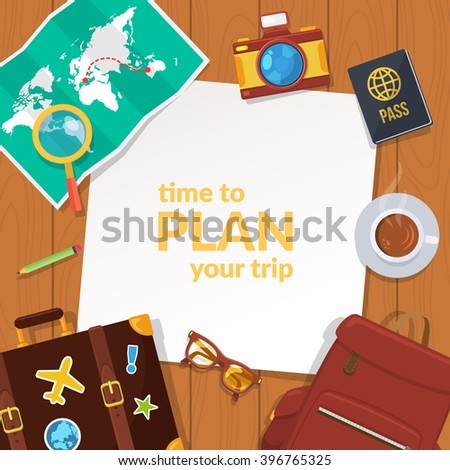 Vacation travel background. Easy to edit design template. Vector illustration. - stock vector