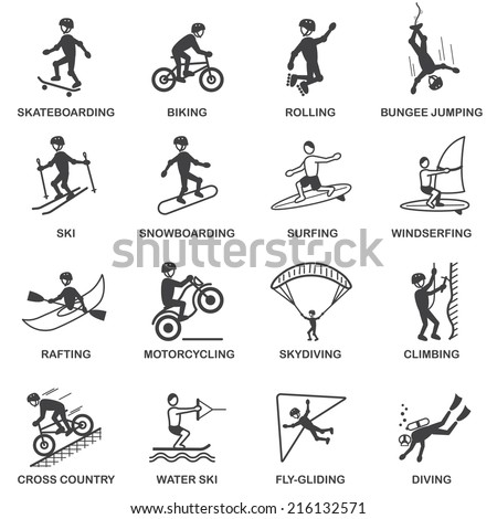 Vacation travel extreme sports icons set of skateboard snowboard skydiving and bungee jumping vector illustration - stock vector
