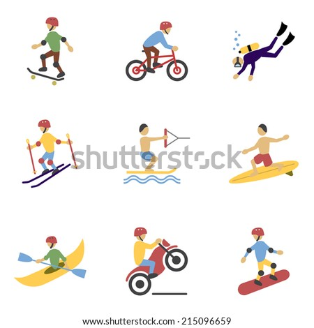 Vacation travel extreme sports icons set of surfing biking rolling and  motorcycling flat vector illustration - stock vector