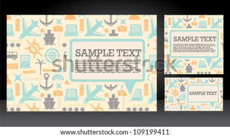 Vacation travel icons speech bubble card set - stock vector