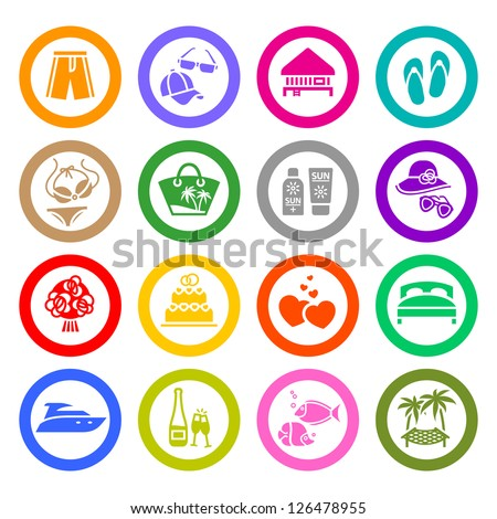 Vacation, Travel & Recreation, icons set. Tourism, Sport. Vector illustration - stock vector