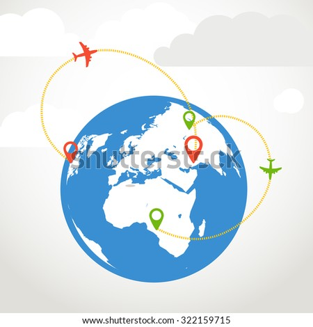 Vacation traveling composition  - stock vector