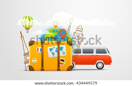 Vacation travelling composition with retro red bus - stock vector