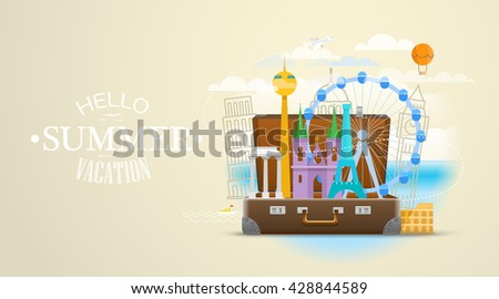 Vacation travelling composition with the open bag and world signs. Hello summer 