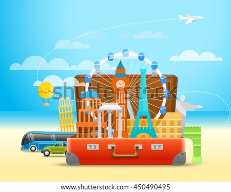 Vacation travelling composition with the open bag. Touristic sighns concept - stock vector
