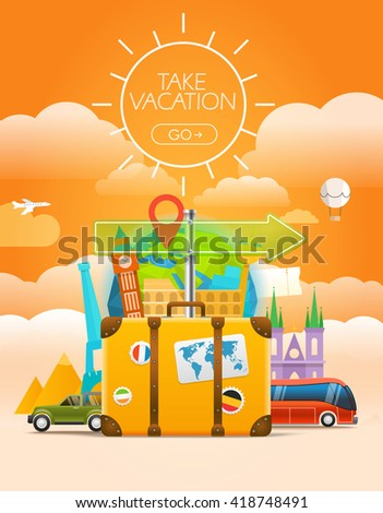 Vacation travelling concept. Vector travel illustration with the bag. Take vacation concept with the logo - stock vector