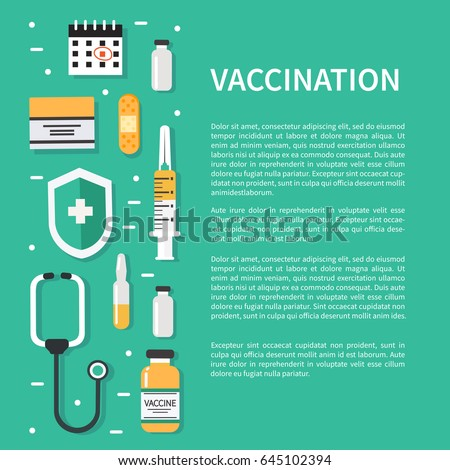 vaccination concept poster text place flat stock vector 645102394 shutterstock. Black Bedroom Furniture Sets. Home Design Ideas
