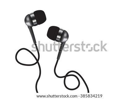 Vacuum earphones music. Photorealistic headphone illustration vector