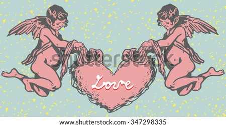 Valentin's Angels with Heart. Graffiti Retro Style. - stock vector