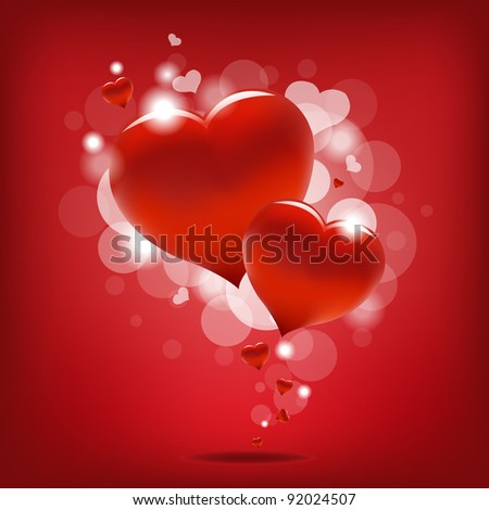 Valentin`s Day Card With Hearts, Vector Illustration - stock vector