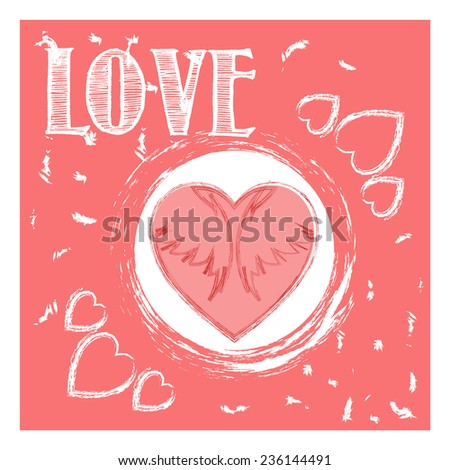 Valentin's Day greeting card. Love card. Wedding card. Vector illustration. - stock vector