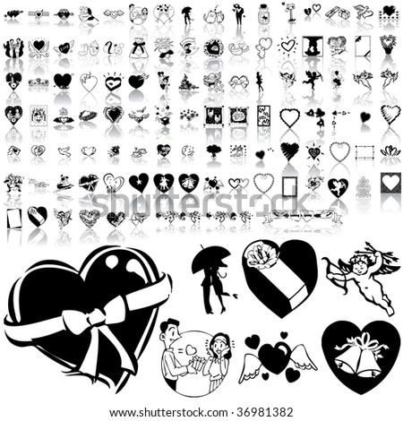 Valentinday set of black sketch. Part 1. Isolated groups and layers. - stock vector
