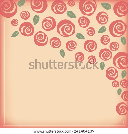 Valentine and wedding border boquet of swirly roses - stock vector