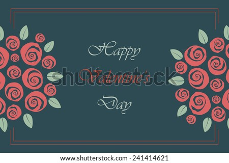 Valentine and wedding themed border bouquet of swirly roses - stock vector