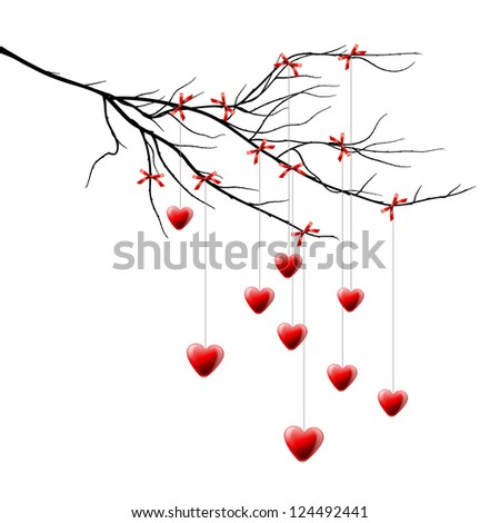 Valentine background, branch with hearts