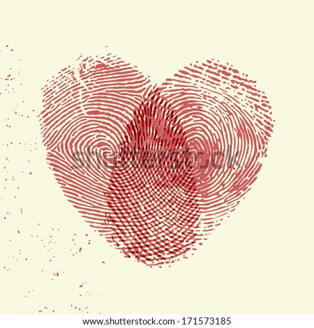 Valentine background (red fingerprint on light background) - stock vector