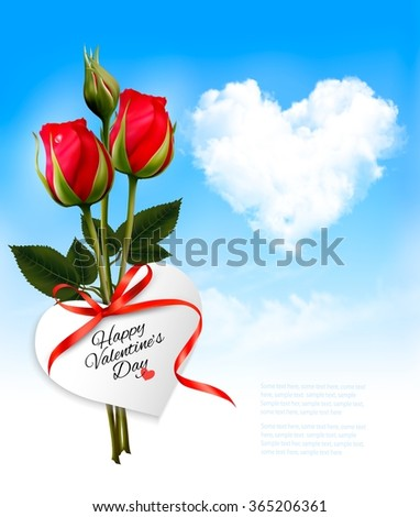 Valentine background with heart cloud and red flowers. Vector. - stock vector