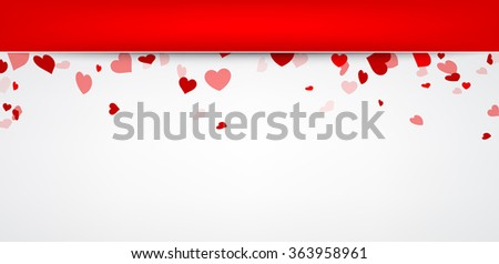 Valentine background with hearts. Vector paper illustration. - stock vector