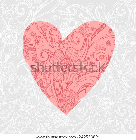 Valentine background with ornate heart - stock vector