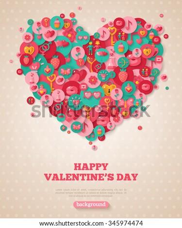 Valentine Banner Flat Icons Heart Vector Stock Vector 345974474