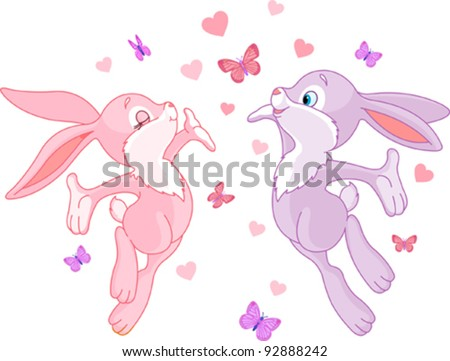 Valentine bunnies in Love, are In The Air - stock vector