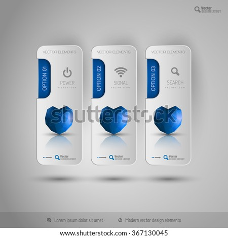 Valentine business tabs with blue polygonal heart. Vector design elements. - stock vector