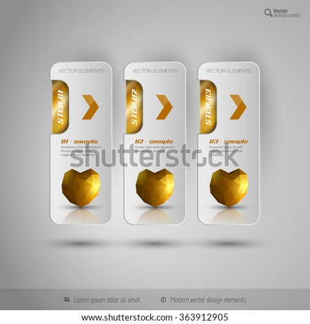 Valentine business tabs with gold polygonal heart. Vector design elements. - stock vector