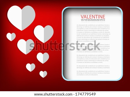 Valentine card background and white heart paper on red paper background for text and message design in box for text , Vector - stock vector
