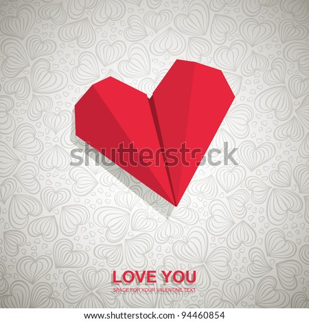Valentine card made of red paper heart, vector eps8 illustration - stock vector